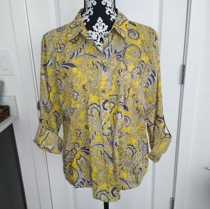 Michael Kors Yellow Paisley Cotton Blouse XL